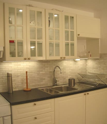 Renovated kitchen with lighted kitchen cabinet