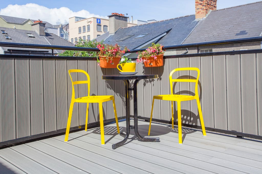 Sunny deck outside dining room
