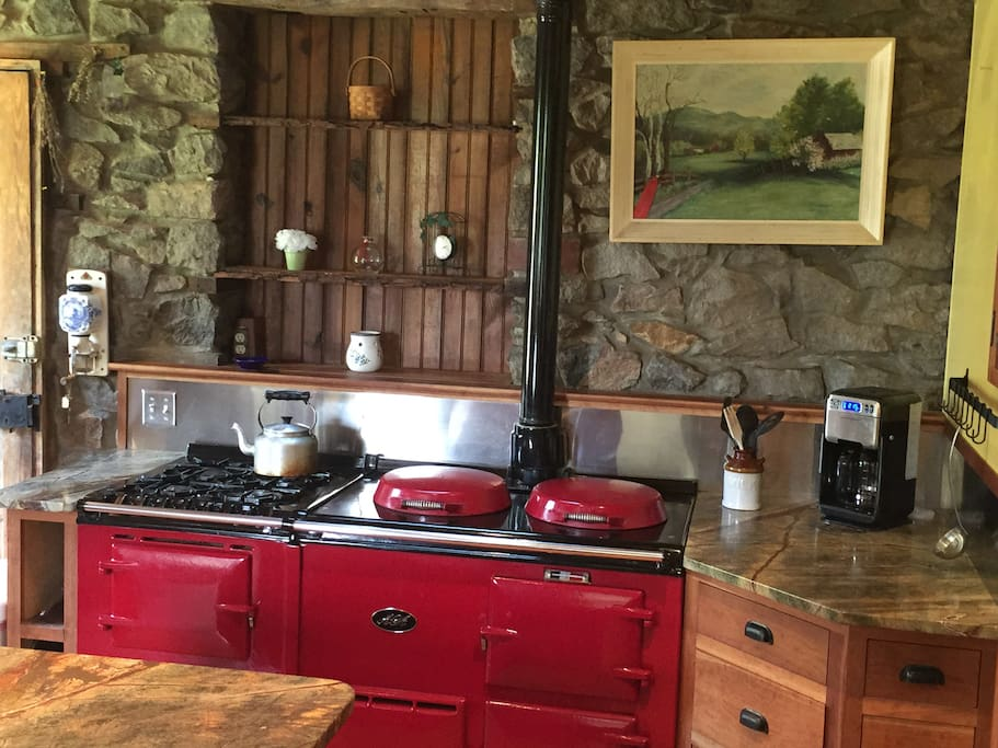 High-end yet rustic kitchen, where you are invited to make your own meals and eat.