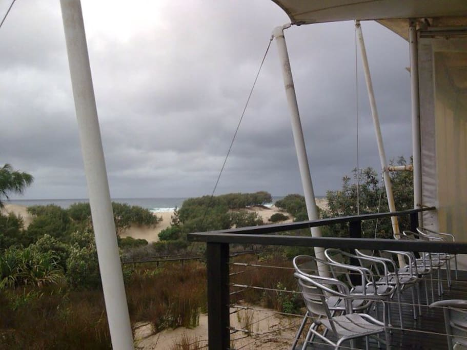 10 minutes walk from the cabin is the wild east Coast of the island. The Surf Beach cafe, while not open except for functions, has a great deck where walkers can watch storms roll in from the sea.