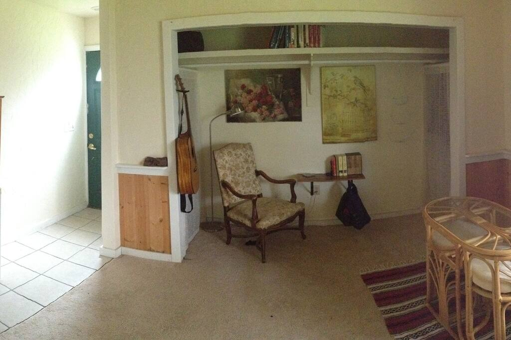 L to R: Entry, Reading nook, Closet space, Dining area