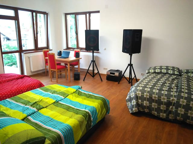This is the master bedroom. It has balcony that overlooks the center of Cluj Napoca. The room is spacious and very bright. The windows are with electric blinds