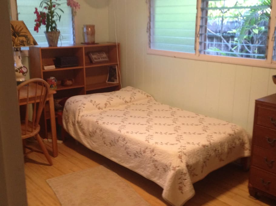Bedroom/great for a single.  Extra long comfy bed. Dresser, desk and bookshelf.