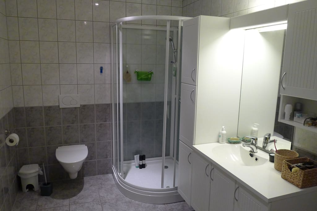 Stort bad med god og romslig dusj. Badet har god plass til å tørke klær.