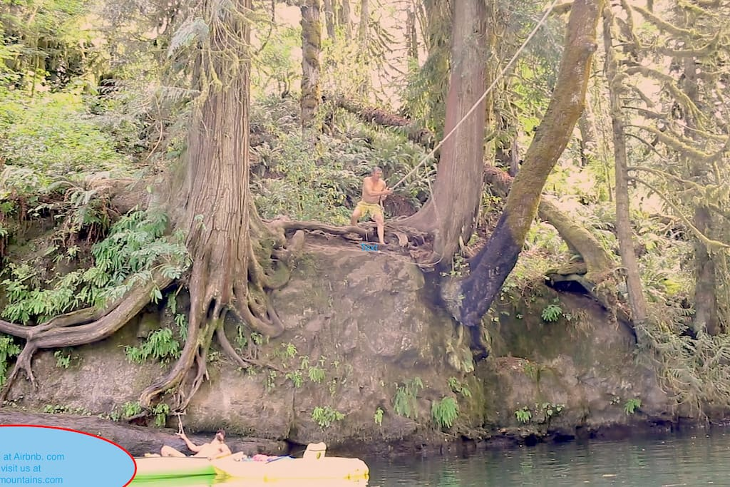 Walking distance from the Property.. Swing and let go... 20 ft drop into the river