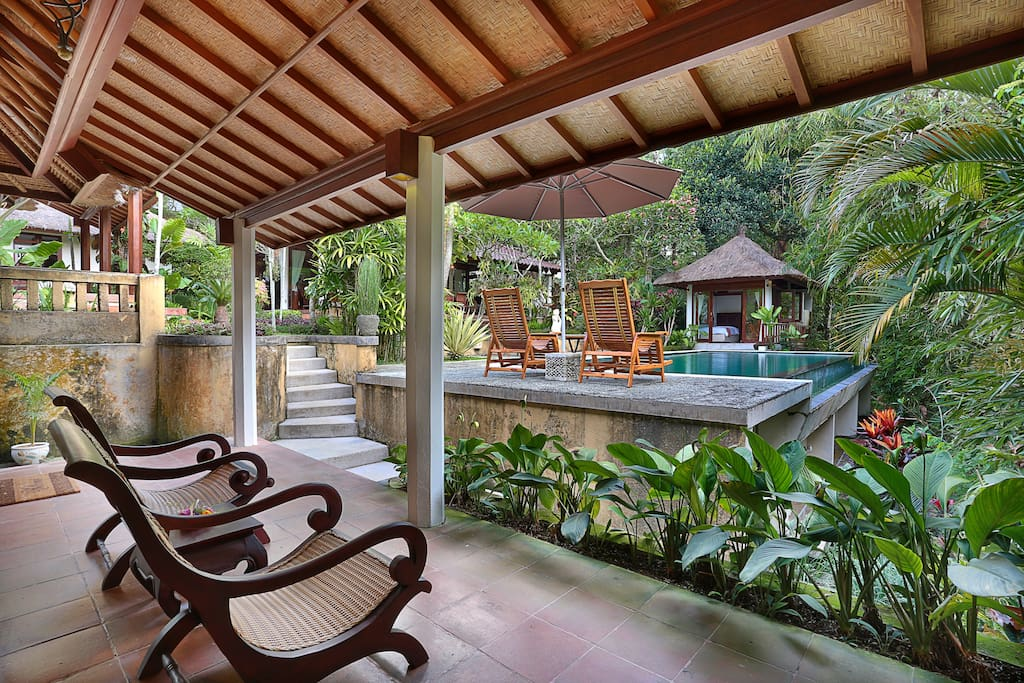 Private verandah with beautiful view to the pool