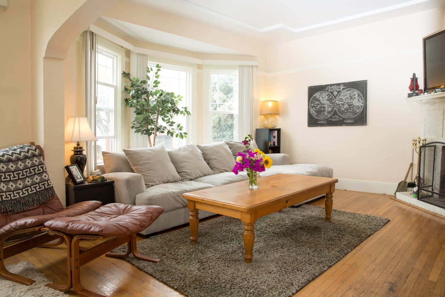 Big spacious living room - nicely furnished & classic SF Edwardian architecture