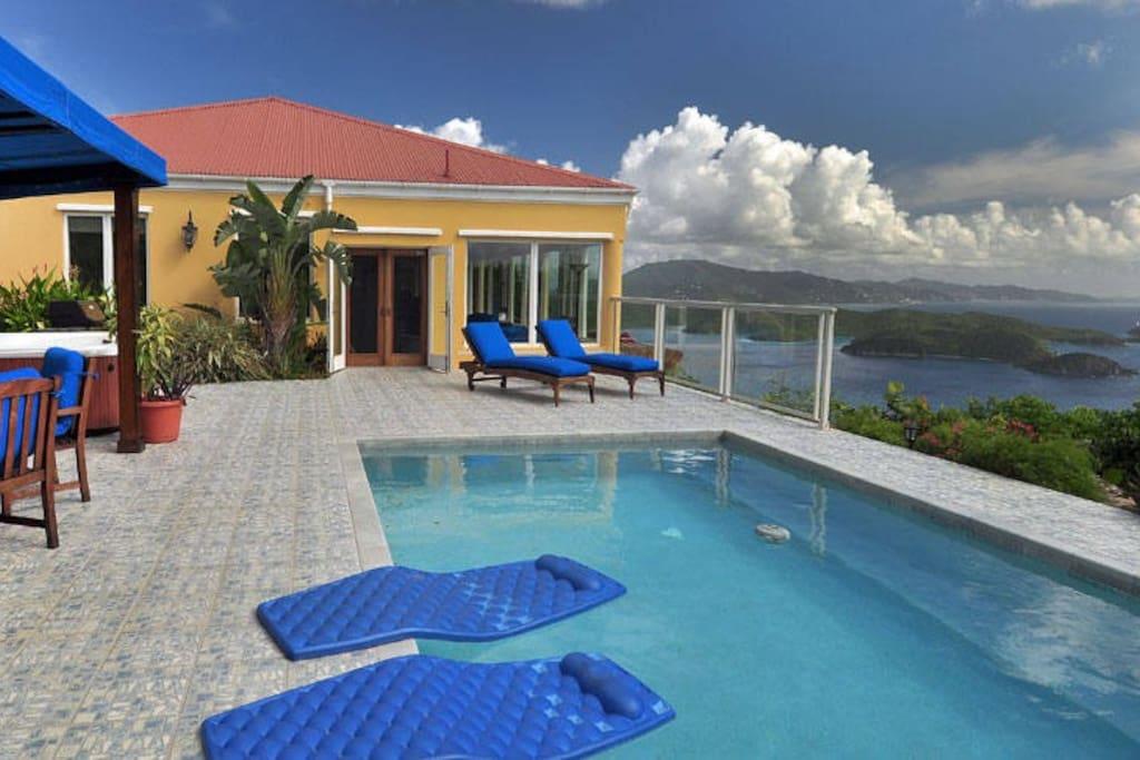 The pool deck at Moonswept Villa.