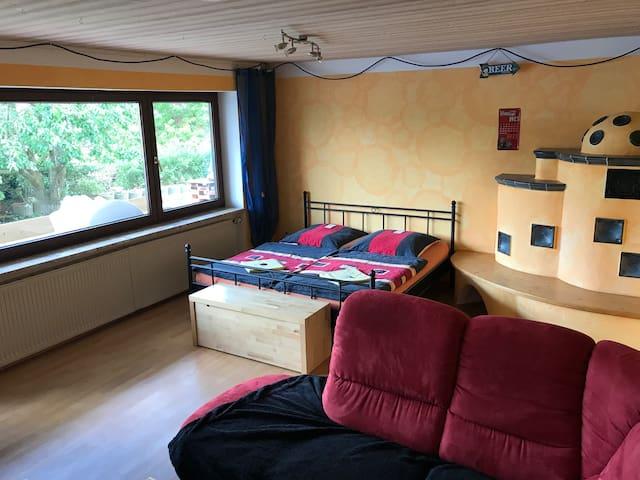 Schlaf/Wohnzimmer mit Doppelbett, Couch und Fernseher
