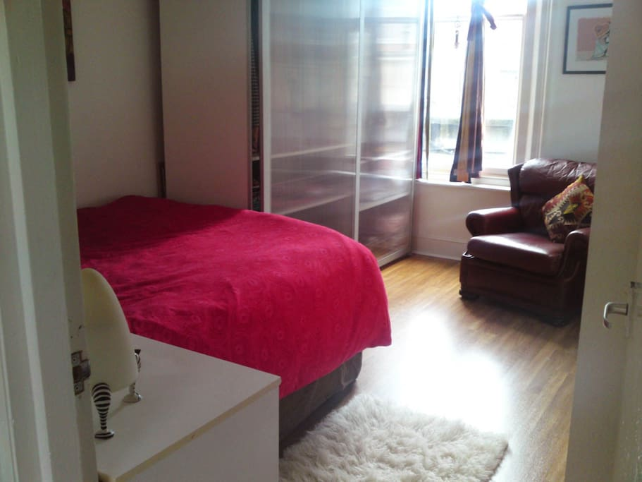 Bedroom has a large double bed with closet and storage space.