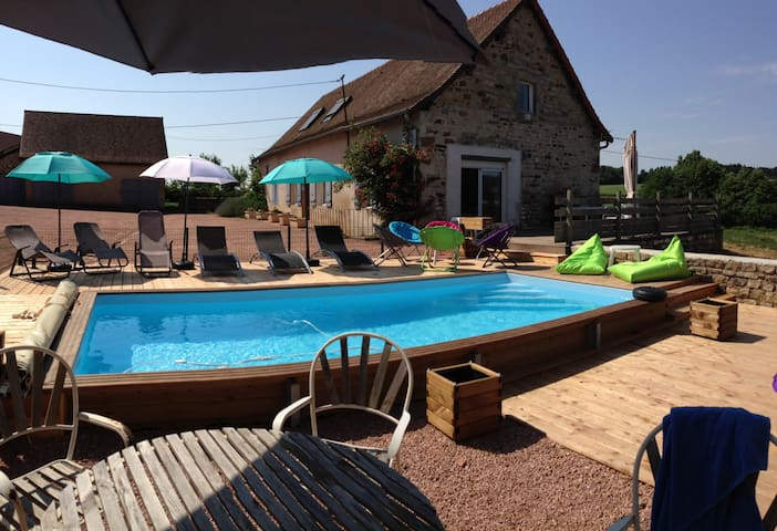 Gîte,pêche,piscine,sauna,salle musculation,étang. - Saint-Bonnet de Vieille vigne  - House