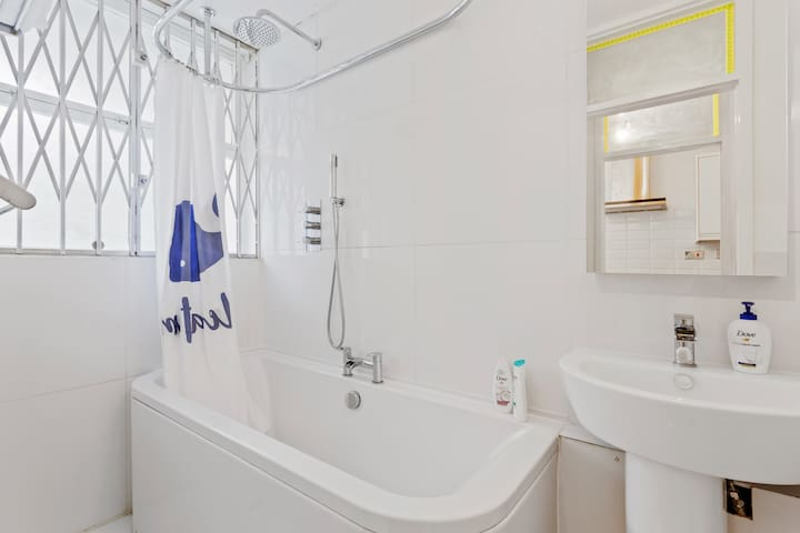 Enjoy a long soak in the tub or freshen up with the brilliant shower