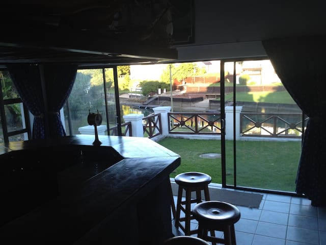 Bar area and view onto the canal