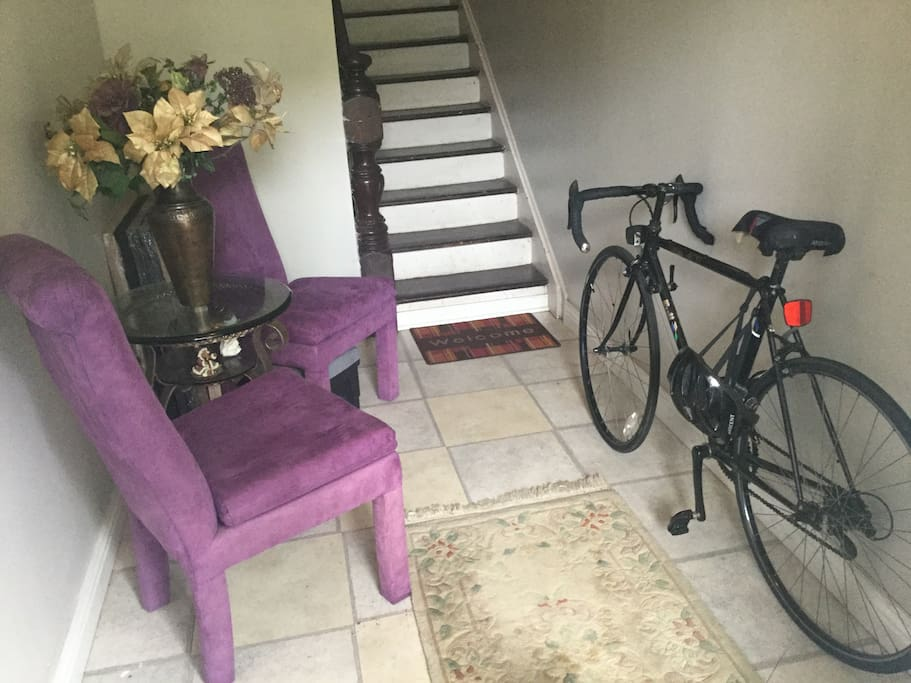 Foyer to sit before heading upstairs and bike for your use