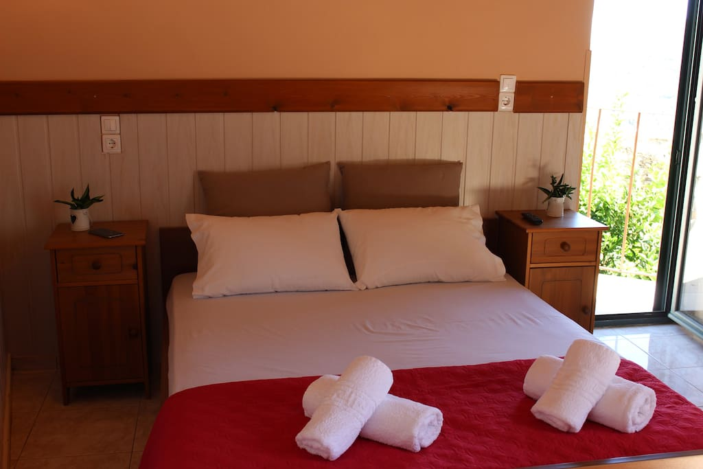 First Bedroom with Double bed, Air-condition, wardrobe, 2 balconies
