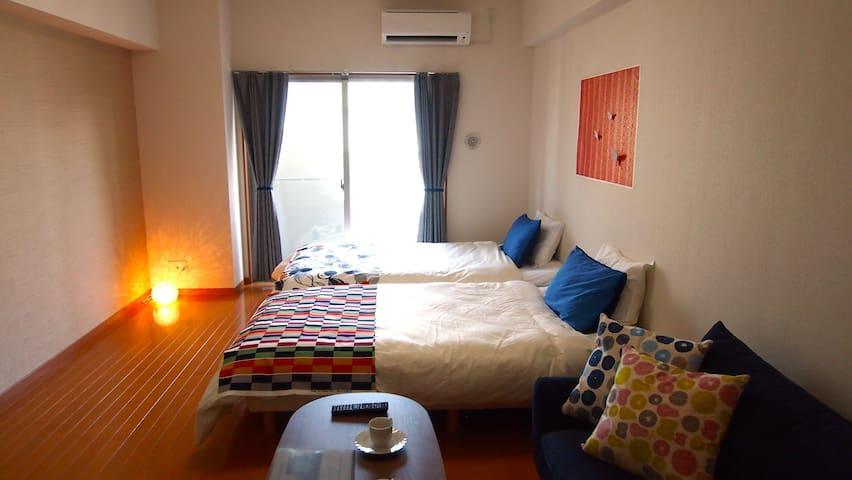 3minTenjinSta★Cozy&ModernBigRoom for FamilyTrip#92 - Fukuoka-shi - Apartamento