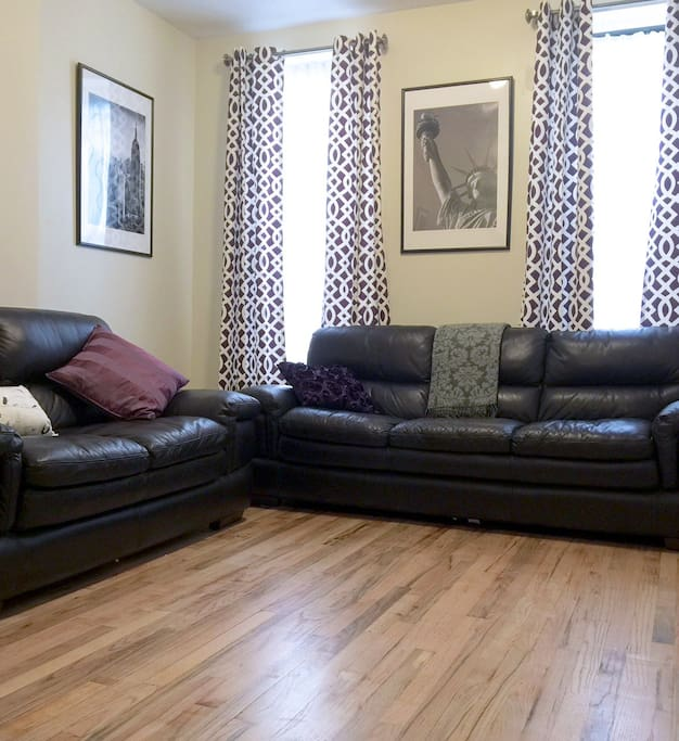 Big Leather Couches in the living room. Comfortable and can easily seat 5.