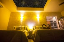 The Star View Window has a remote controlled curtain so you can open and close it like you wish.