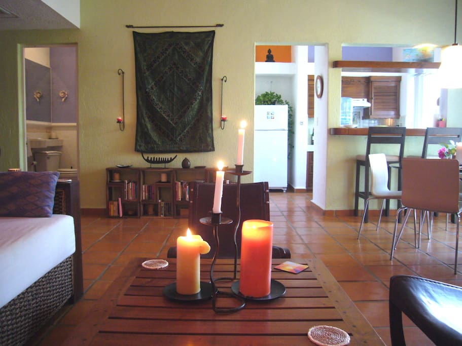 Living Room, Dining Room and Kitchen with Bar
