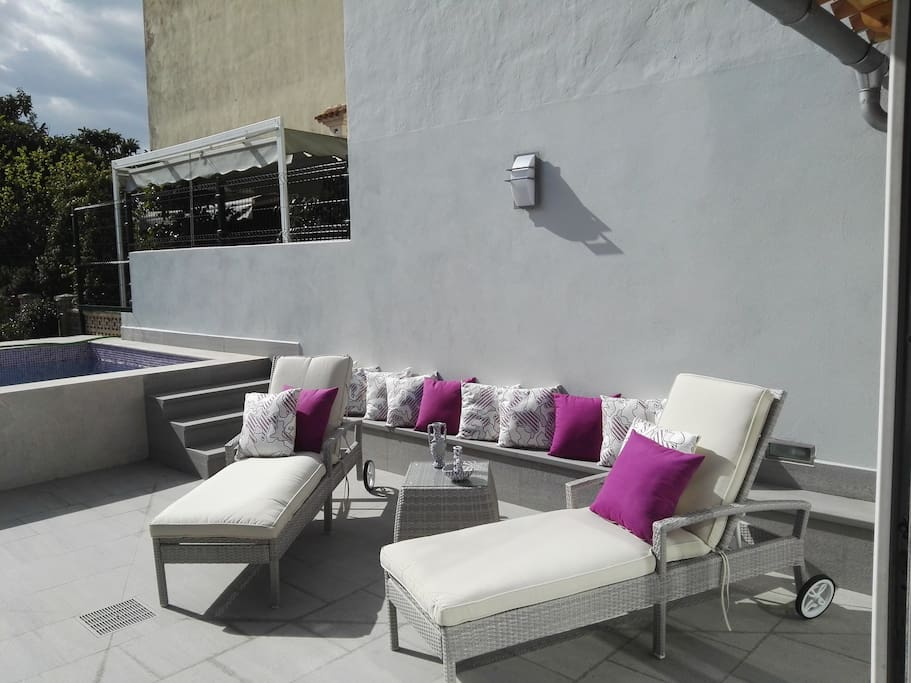 terraza con hamacas