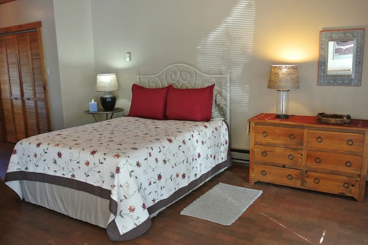 Bedroom features a comfortable queen-size bed, nightstand, chest of drawers, full closet, bookcase and alarm clock radio.