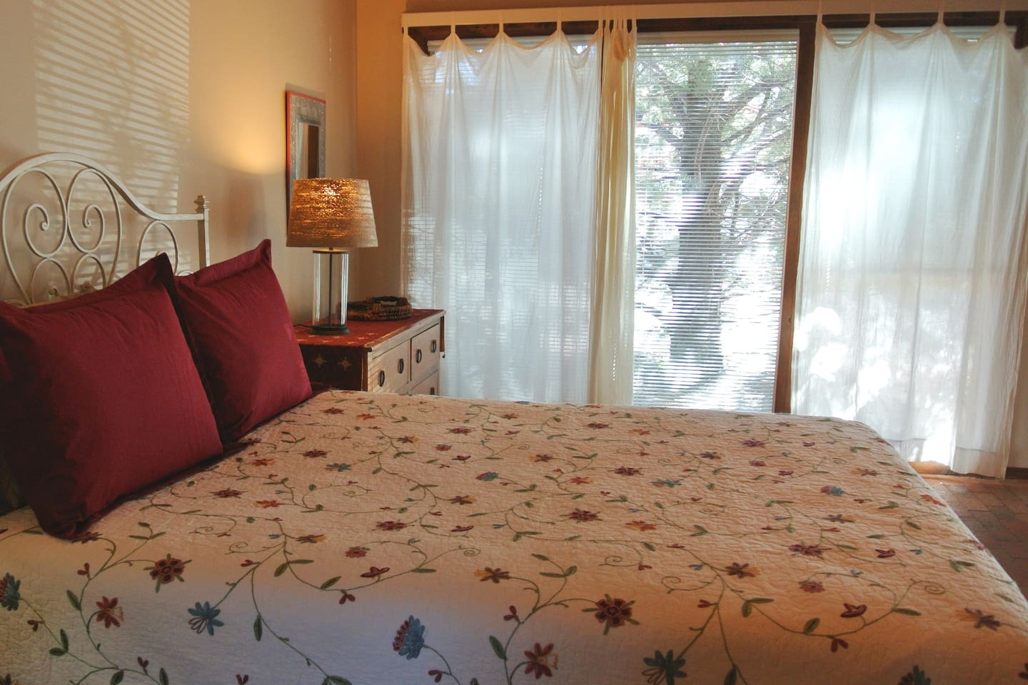 Comfortable, queen-size bed as well as extra pillows and comforters to support your restful sleep.