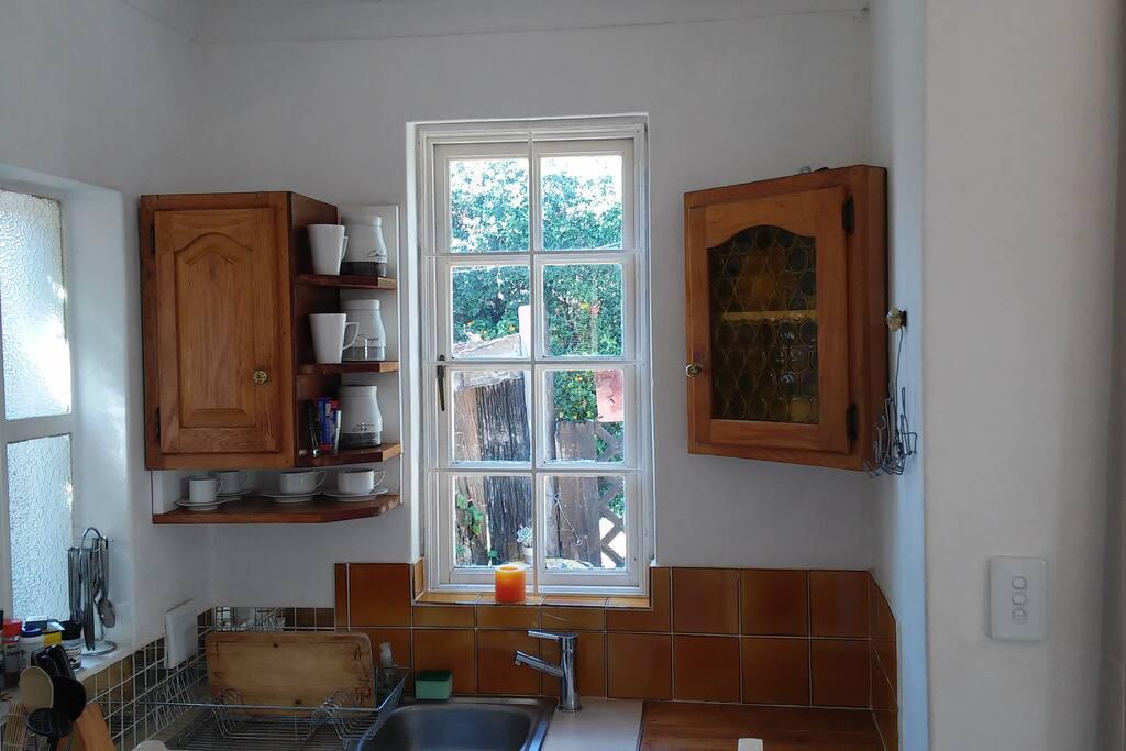 view of the garden through the kitchen window