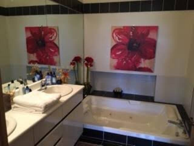 Full bathroom w/ double Jacuzzi &  separate Shower stall