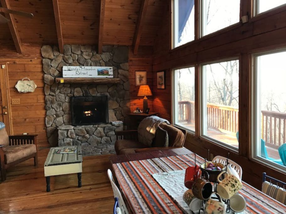 Welcome to our cabin! Cozy fireplace setting for coffee and conversation.