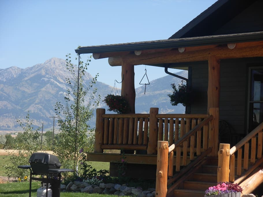 Views of the Bridger Mountains from deck.