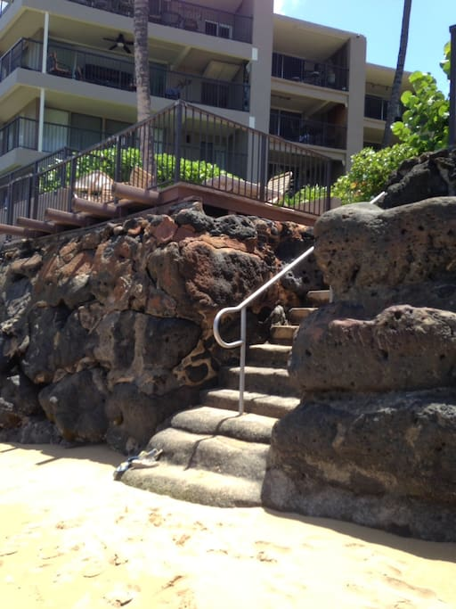 Stairs to beach and snorkeling