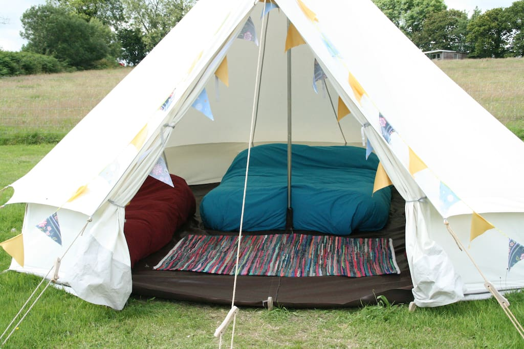 Budget Glamping tent; arrive on site to beds already made up for you.