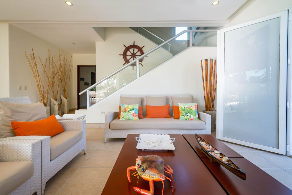 The main floor is bright, cheerful and inspired by the sea