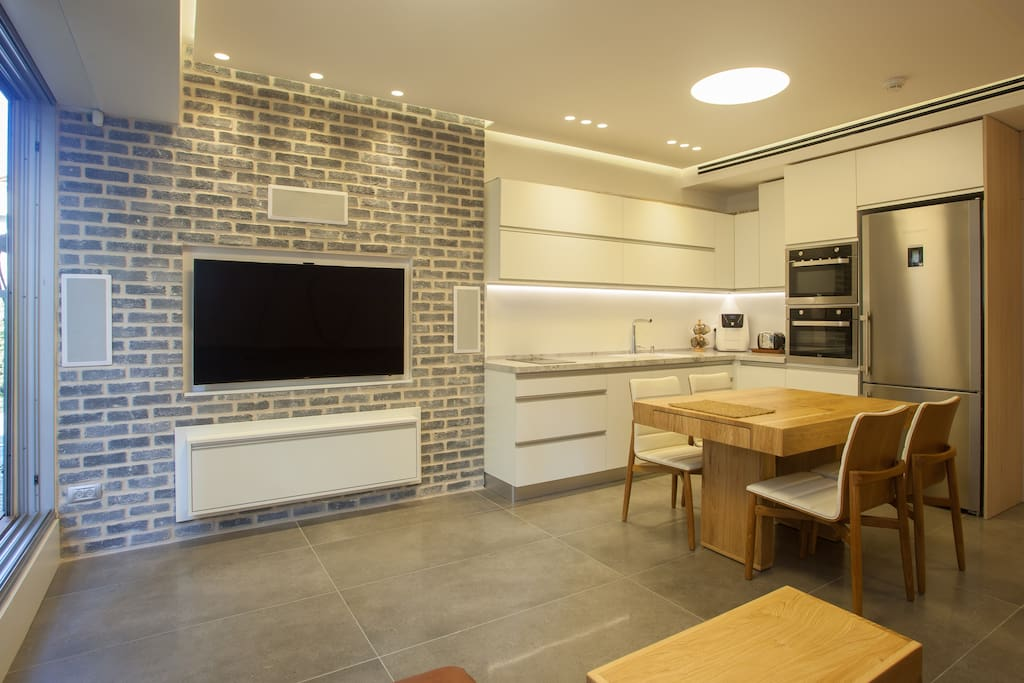 """Kitchen with coffee machine +water dispenser  + sparkling water + oven + microwave + dishwasher + refrigerator Model """"Liber"""" + kitchenware + Electric stove"""