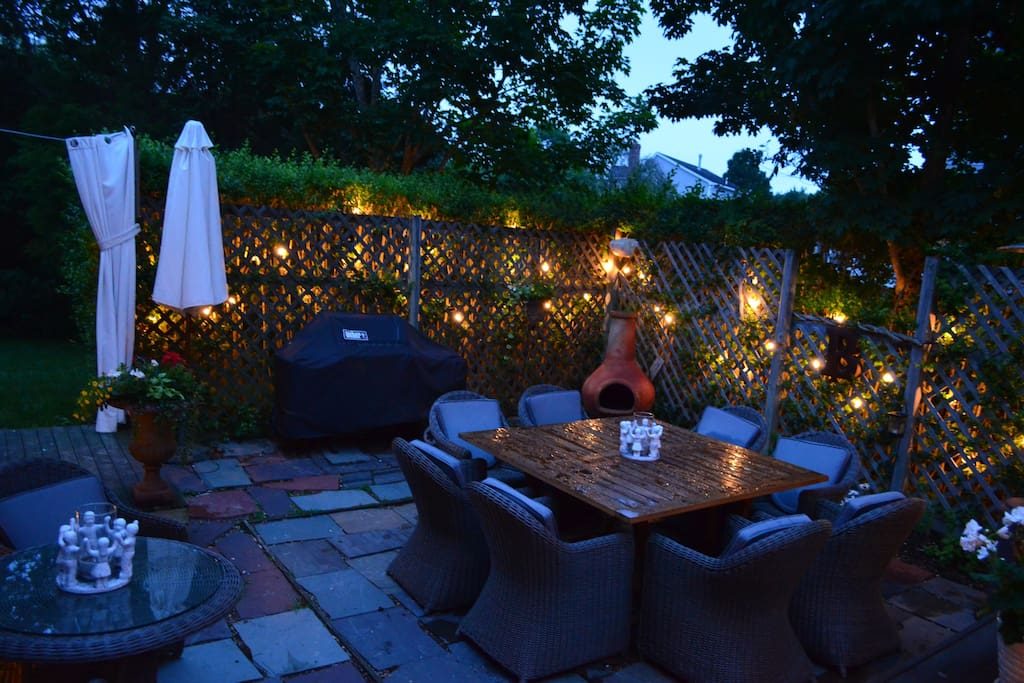 cozy patio with sonos and sound system -chiminea and bar