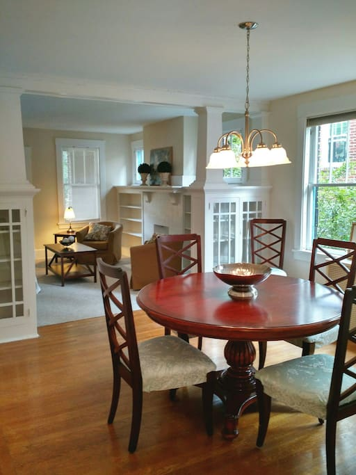 Another view of the dining room and living room.