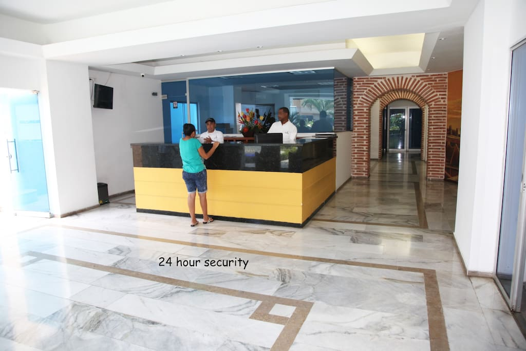 Lobby area, 24 hour security with intercom to apartment