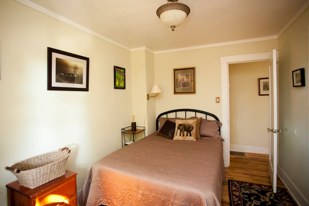 This bedroom has a double size mattress with a memory foam topper...very comfortable.