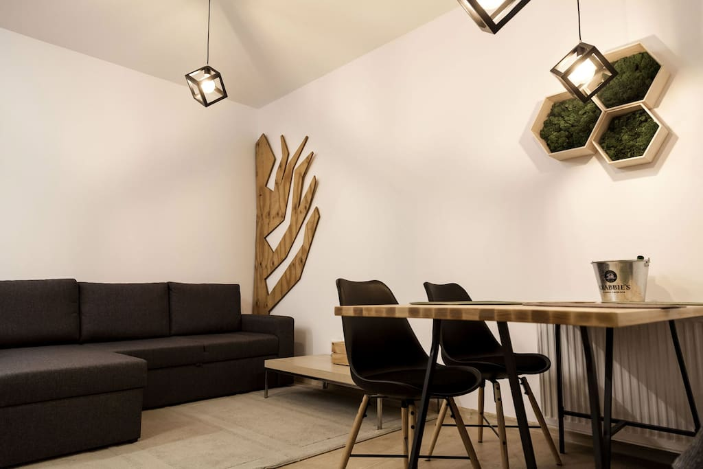 Living and dining room. Extendable sofa for 2 persons