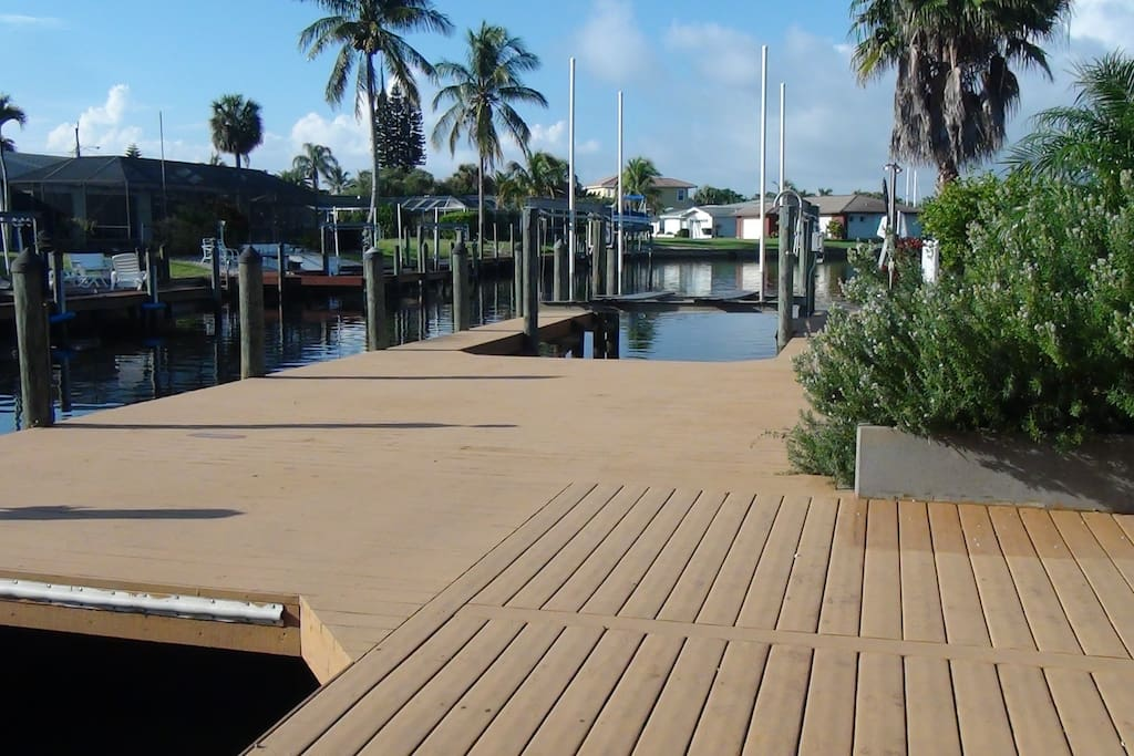 Oversized dock / deck with 2 boat lifts