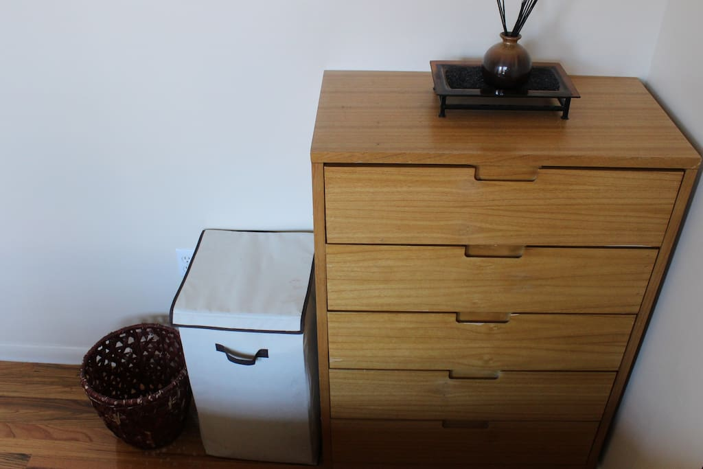 Dresser and Hamper available to  be utilized by guests