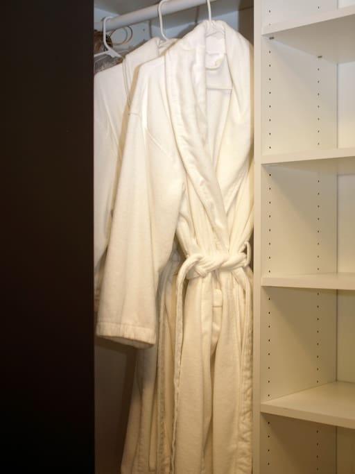 Plush terry cloth robes for guests to use.
