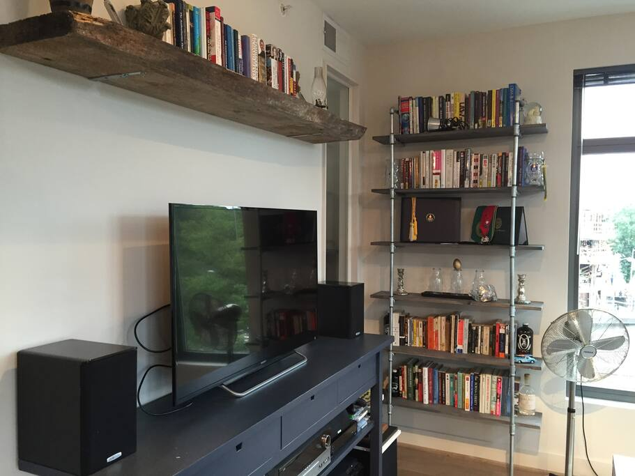 TV, stereo, and lots of books! Read anything you like, but please leave the books here!