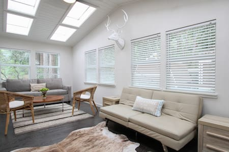 "Brand new modern 3/2 home.  1 block to private beach in Vacation Beach neighborhood.  .3 mile down the street to Vacation Beach.  2 miles to downtown Guerneville. Kayaks, Wifi, 60"" HD wall mounted T.V. with HBO"