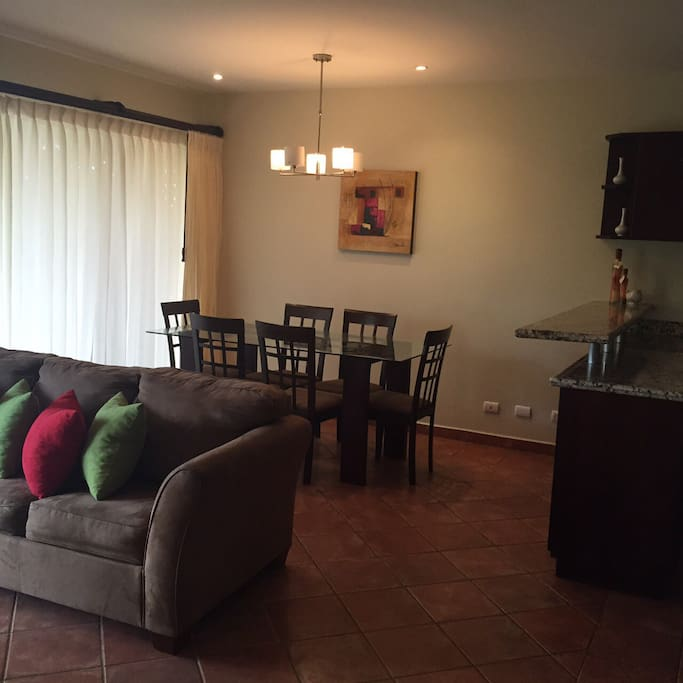 Family room, dinning table seats six, super confortable couch which turns into a double bed.