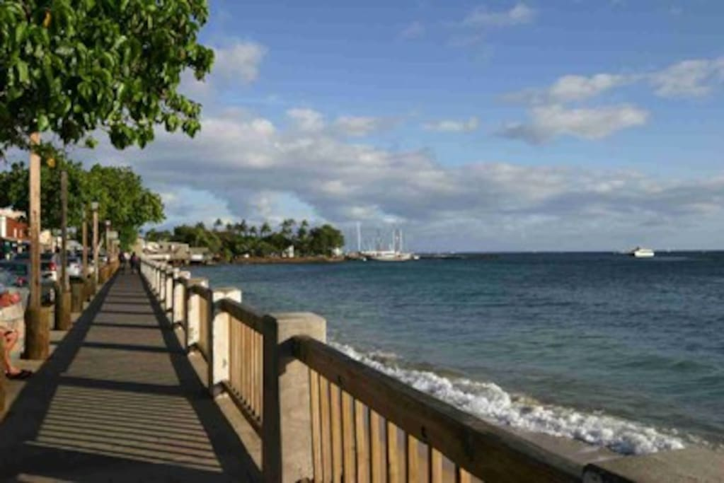 Lahaina town short walk or bike ride from our B&B