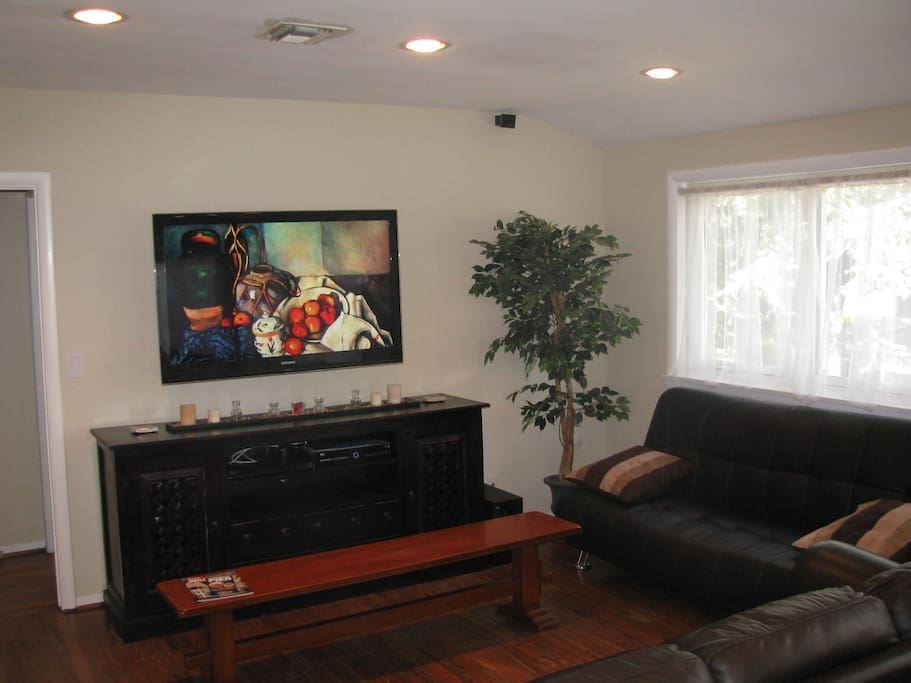 Living Room has Large Screen HD-TV, Blue Ray, Surround Sound, Fold out Sofa, etc.