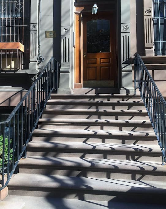 Entrance to the brownstone building. Studio is 1st apartment as you enter