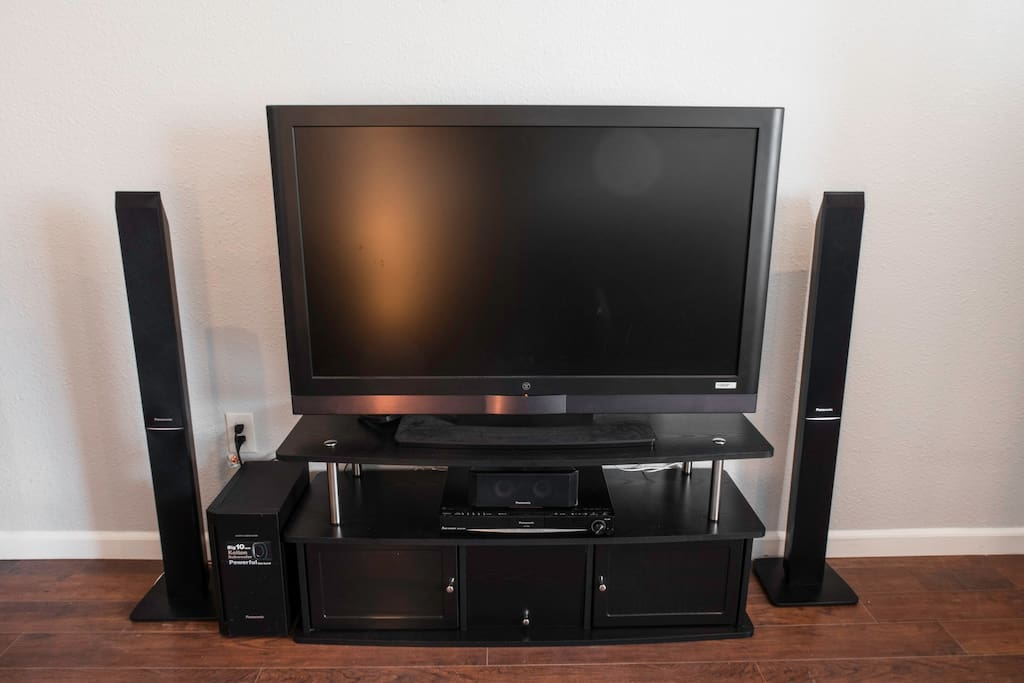 """Enjoy, relax, and entertain yourself with an available 150+ cable channels on a 47"""" HDTV and 5.1 surround sound speakers. A Roku Streaming Stick+ is also hooked up for those who want to access Netflix, Hulu, YouTube, etc."""
