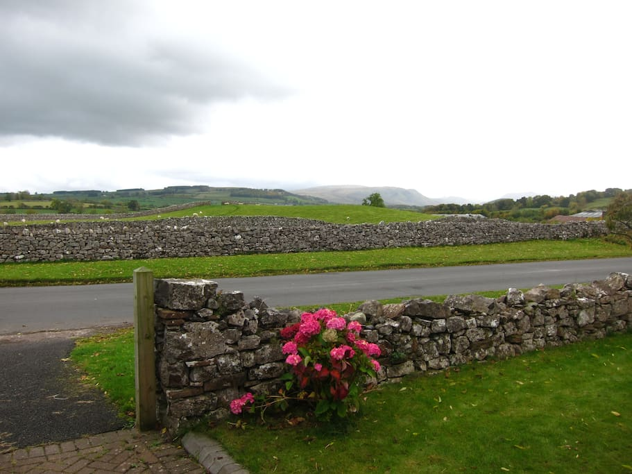 Panoramic views of the the Lakeland Fells from the front of the house